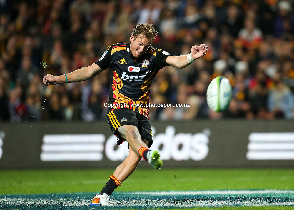 Chief's Marty McKenzie kicks a goal during the Super 15 Rugby match - Chiefs v Force played on Friday 24 April 2015 at Waikato Stadium, Hamilton, New Zealand.  Copyright Photo:  Bruce Lim / www.photosport.co.nz