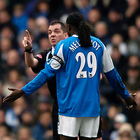 Photo: Richard Lane.<br />Birmingham City v West Bromwich Albion. The Barclays Premiership. 11/03/2006. <br />Referee P Dowd books Birmingham's Mario Melchiot.