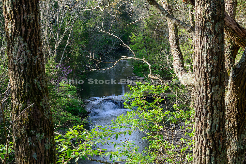 Photo of Horseshoe Falls viewed from above, in Caesar Creek State Park, near Waynesville, Ohio in Warren County.