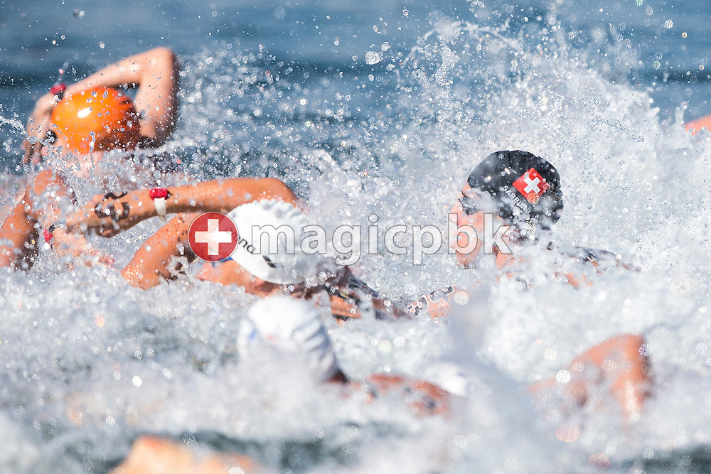 Riccardo SABBIONI of Switzerland competes in the Boys Junior's 7.5km race during the LEN European Junior Open Water Swimming Championships held in the lake Maggiore (Lago Maggiore) at the Centro sportivo nazionale della gioventu in Tenero, Switzerland, Friday, July 10, 2015. (Photo by Patrick B. Kraemer / MAGICPBK)