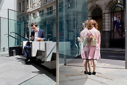 Ladies talk and a man uses his phone while sitting in sunshine during the lunchtime break on Threadneedle Street in the City of London, the capital's financial district, on 17th June 2019, in London, England.