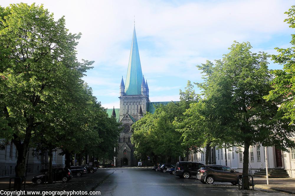 Early morning sunshine on historic cathedral spire, Nidaros Domkirke, Trondheim, Norway