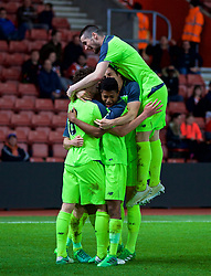 SOUTHAMPTON, ENGLAND - Monday, April 10, 2017: Liverpool's captain Harry Wilson [hidden] celebrates scoring the second goal against Southampton to equalise the score at 2-2 with team-mates during FA Premier League 2 Division 1 Under-23 match at St.Mary's Stadium. (Pic by David Rawcliffe/Propaganda)
