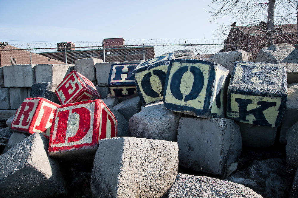 Stone cubes painted with letters, Red Hook, Brooklyn