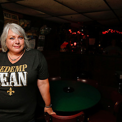 8/14/2013 7:32:55 PM -- New Orleans, LA  Saints fan Lori Cavagnaro a former bartender at Snake and Jakes and current resident of Utah in town for the New Orleans Saints preseason matchup against the Oakland Raiders on Friday.  - Saints rebirth with the return of Head Coach Sean Payton --    Photo by Derick E. Hingle , Gannett
