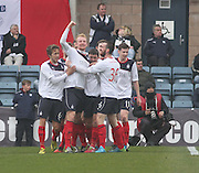 Mark Beck (arm aloft) celebrates after scoring the only goal of the game to give Falkirk full points - Dundee  v Falkirk - SPFL Championship at Dens Park<br /> <br />  - &copy; David Young - www.davidyoungphoto.co.uk - email: davidyoungphoto@gmail.com