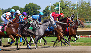 3 of 4. A few seconds after the start of the second race at Monmouth Park on August of 2015. The eventual winner has on him the rider in red silks.