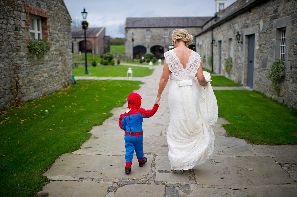Jaqui and Spiderman, By documentary wedding photographer James Horan - Solas Wedding and Portrait Photography