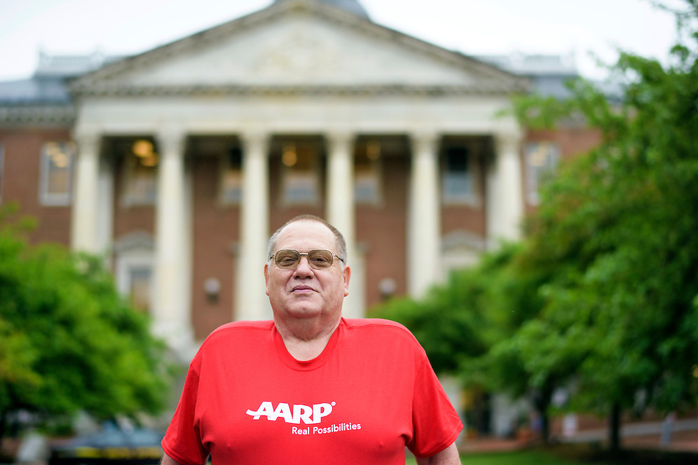 Annapolis, Maryland - May 21, 2015: John Hankel, from Baltimore, is photographed in front of the Maryland Statehouse Thursday May 21, 2015. Hankel, 61, is a wounded veteran from the Vietnam War era who uses Maryland's Medicaid services. He works with AARP to train fellow legislative advocates on how to talk to Maryland law makers about reinstitution the CARE act.<br /> <br /> <br /> CREDIT: Matt Roth