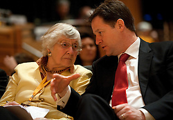 © London News Pictures. 11/03/2012.  Gateshead, UK. Leader of the Liberal Democrats NICK CLEGG speaking to SHIRLEY WILLIAMS at a vote on the NHS bill on day 3 of the Liberal Democrat Spring conference at the Sage Gateshead on March 11th, 2012. Photo credit : Ben Cawthra/LNP