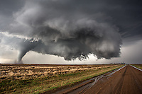Three tornadoes on the ground at one time near Dodge City, Kansas, May 24, 2016.
