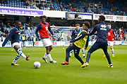 Birmingham City players warm up before kick off during the EFL Sky Bet Championship match between Queens Park Rangers and Birmingham City at the Loftus Road Stadium, London, England on 28 April 2018. Picture by Andy Walter.