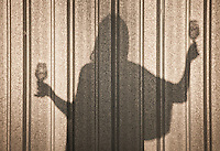 Silhouette shadow on a corrugated tin wall of a woman holding a wine glass in each hand. Sonoma, California, USA.