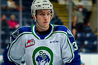 KELOWNA, BC - OCTOBER 16: Brandon Machado #13 of the Swift Current Broncos warms up against the Kelowna Rockets  at Prospera Place on October 16, 2019 in Kelowna, Canada. (Photo by Marissa Baecker/Shoot the Breeze)