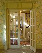 Foyer from dining room.  Private home of retired set designer.