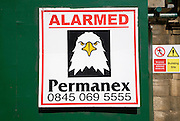 Eagle image used to show security alarmed building site premises, UK
