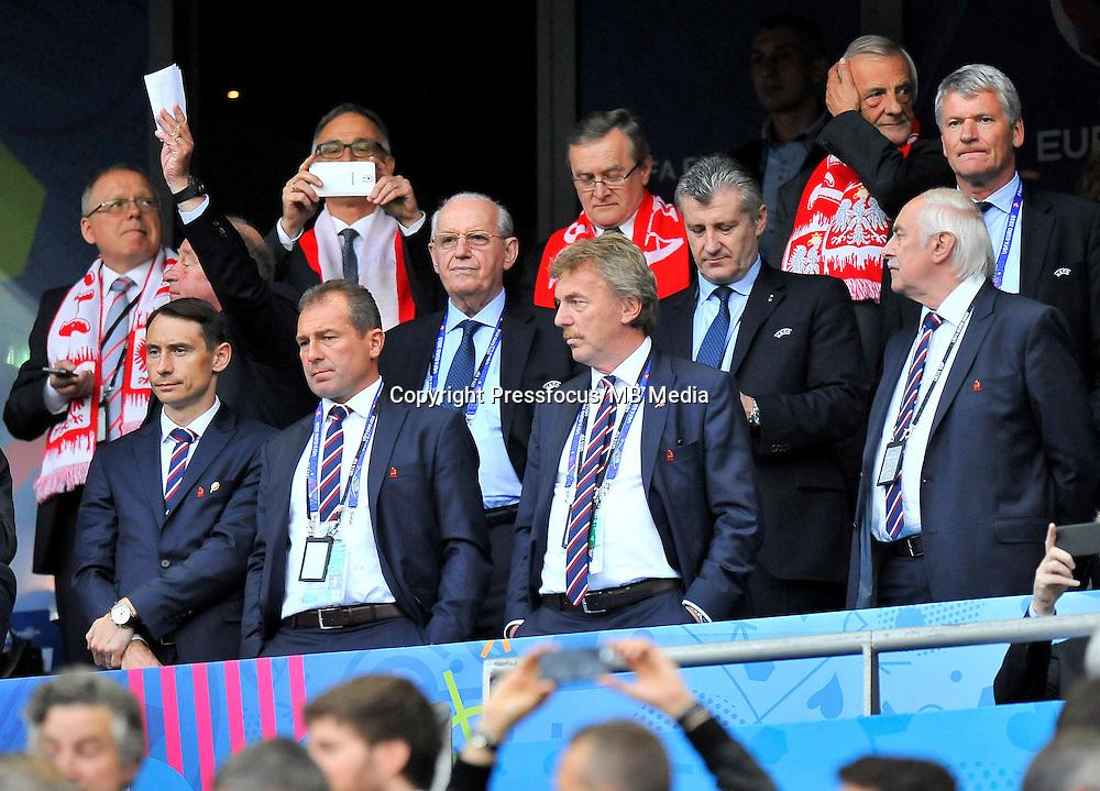 2016.06.16 Saint-Denis<br /> Pilka nozna Euro 2016<br /> mecz grupy C Polska - Niemcy<br /> N/z Marek Kozminski, Zbigniew Boniek<br /> Foto Norbert Barczyk / PressFocus<br /> <br /> 2016.06.16 Saint-Denis<br /> Football UEFA Euro 2016 group C game between Poland and Germany<br /> Marek Kozminski, Zbigniew Boniek<br /> Credit: Norbert Barczyk / PressFocus
