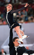 Ekaterina Gordeeva and her husband Sergei Gringov win the Gold Medal in pairs figure skating at the 1994 Winter Olympics in Lillehammer, Norway. © Ed Hille / Philadelphia Inquirer.One Time Use Only