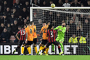 Goal - Rui Patricio (11) of Wolverhampton Wanderers is beaten as Steve Cook (3) of AFC Bournemouth scores a goal to make the score 1-2 during the Premier League match between Bournemouth and Wolverhampton Wanderers at the Vitality Stadium, Bournemouth, England on 23 November 2019.