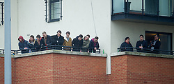 LONDON, ENGLAND - Saturday, February 9, 2013: Spectators watch from the flats that surround Leyton Orient's Brisbane Road as the O's take on Tranmere Rovers during the Football League One match. (Pic by David Rawcliffe/Propaganda)