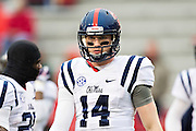 FAYETTEVILLE, AR - NOVEMBER 22:  Bo Wallace #14 of the Ole Miss Rebels warming up before a game against the Arkansas Razorbacks at Razorback Stadium on November 22, 2014 in Fayetteville, Arkansas.  The Razorbacks defeated the Rebels 30-0.  (Photo by Wesley Hitt/Getty Images) *** Local Caption *** Bo Wallace