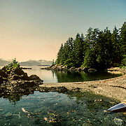 My Klepper Aerius 1 kayak on a beach on one of the Brothers Islands, Frederick Sound, Southeast Alaska, USA.<br />