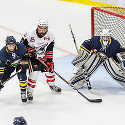 GEORGETOWN, ON - FEBRUARY 2: Joshua Phillips #89 of the Buffalo Jr. Sabres and Andrew Horsley #7 of the Georgetown Raiders battle for position in front of the net on February 2, 2019 at Gordon Alcott Memorial Arena in Georgetown, Ontario, Canada.<br /> (Photo by Michelle Malvaso / OJHL Images)