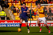 John Souttar of Hearts looks to get away from James Scott of Motherwell during the Ladbrokes Scottish Premiership match between Motherwell and Heart of Midlothian at Fir Park, Motherwell, Scotland on 17 February 2019.