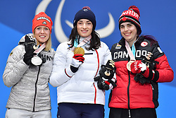 BOCHET_Marie, ROTHFUSS_Andrea, RAMSAY_Alana, ParaSkiAlpin, Para Alpine Skiing, Super G, Podium at PyeongChang2018 Winter Paralympic Games, South Korea.