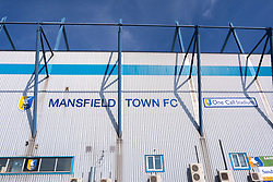 A general view of the outside of the One Call Stadium, home to Mansfield Town - Mandatory by-line: Ryan Crockett/JMP - 01/09/2018 - FOOTBALL - One Call Stadium - Mansfield, England - Mansfield Town v Carlisle United - Sky Bet League Two