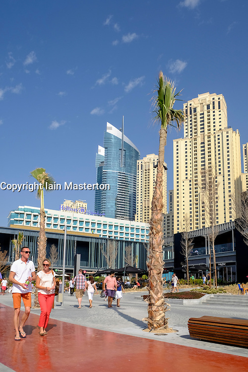 New pedestrian shopping and dining promenade beside beach called The Beach off The Walk at Jumeirah Beach Residences (JBR) in Dubai United Arab Emirates