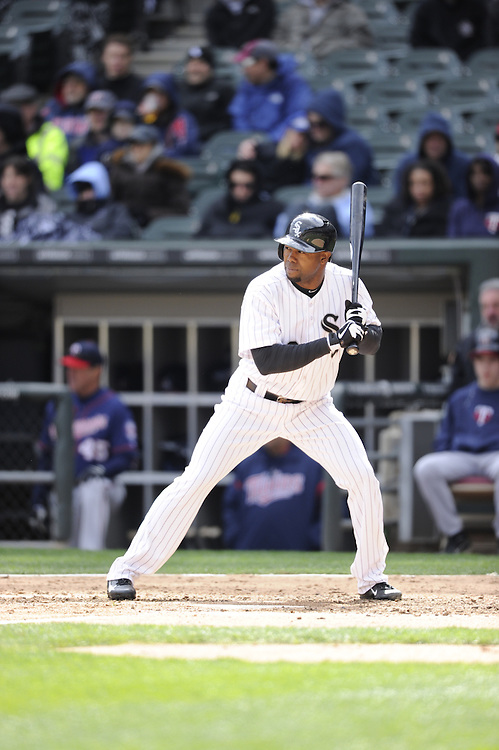 CHICAGO - APRIL 20:  Alejandro De Aza #30 of the Chicago White Sox bats against the Minnesota Twins on April 20, 2013 at U.S. Cellular Field in Chicago, Illinois.  The Twins defeated the White Sox 2-1 .  (Photo by Ron Vesely)   Subject:  Alejandro De Aza