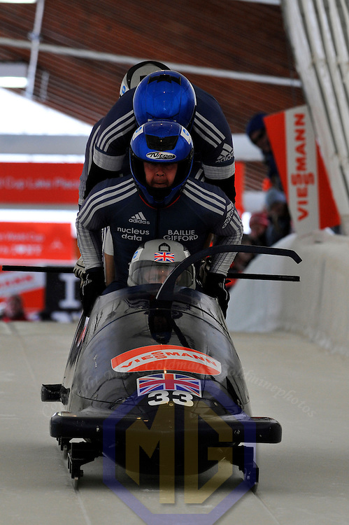 16 December 2007:  The Great Britain 1 sled driven by Lee Johnston with Glenn Kerr, Matthew Roberts and brakeman Steve Smith compete at the FIBT World Cup 4-Man bobsled competition on December 16, 2007 at the Olympic Sports Complex in Lake Placid, NY.  The Russia 2 sled driven by Alexandr Zubkov won the race with a time of 1:48.79.