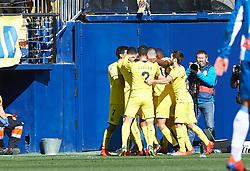 February 3, 2019 - Vila-Real, Castellon, Spain - Villarreal players celebrates a goal during the La Liga match between Villarreal and Espanyol at Estadio de la Ceramica on February 3, 2019 in Vila-real, Spain. (Credit Image: © AFP7 via ZUMA Wire)