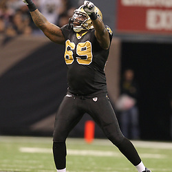 Dec 27, 2009; New Orleans, LA, USA;  New Orleans Saints defensive end Anthony Hargrove (69) celebrates following a sack against the Tampa Bay Buccaneers during the second quarter at the Louisiana Superdome. Mandatory Credit: Derick E. Hingle-US PRESSWIRE..