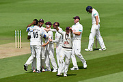 Wicket - Surrey players celebrate after Joe Weatherley of Hampshire is run out by Morne Morkel of Surrey during the Specsavers County Champ Div 1 match between Hampshire County Cricket Club and Surrey County Cricket Club at the Ageas Bowl, Southampton, United Kingdom on 11 June 2018. Picture by Graham Hunt.