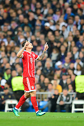May 2, 2018 - Madrid, Spain - MADRID, SPAIN. May 1, 2018 - James Rodriguez celebrates after scoring a goal. With a 2-2 draw against Bayern Munchen, Real Madrid made it to the UEFA Champions League Final for third time in a row. Kimmich and James scored for the german squad while Karim Benzema did it twice for los blancos. Goalkeeper Keylor Navas had a great night with several decisive interventions. (Credit Image: © VW Pics via ZUMA Wire)
