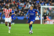 Leicester City forward Jamie Vardy (9) during the Premier League match between Leicester City and Stoke City at the King Power Stadium, Leicester, England on 1 April 2017. Photo by Jon Hobley.