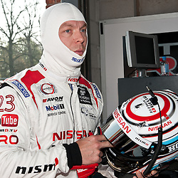 Sir Chris Hoy getting ready for his first race in the Nissan GT-R, GT3, for team RJN pictured during the first round of the 2014 Avon Tyres British GT Championship at Oulton Park Race Circuit, Cheshire, held on the 21st April 2014.