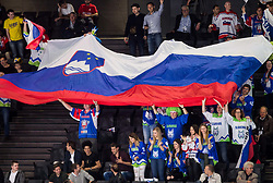 Supporters of Slovenia during the 2017 IIHF Men's World Championship group B Ice hockey match between National Teams of Czech Republic and Slovenia, on May 12, 2017 in AccorHotels Arena in Paris, France. Photo by Vid Ponikvar / Sportida
