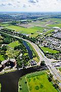 Nederland, Noord-Holland, Haarlemmermeer, 01-08-2016; Ringvaart Haarlemmermmeer en polder, gezien naar Hoofddorp. In de voorgrond voormalig stoomgemaal de Cruquius.<br /> Former pumping station Cruquius in Haarlemmermeer. The pumping station was used to drain the polder Haarlemmermeer and is now a museum.<br /> luchtfoto (toeslag op standard tarieven);<br /> aerial photo (additional fee required);<br /> copyright foto/photo Siebe Swart