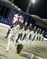 19.09.2013, Rathausplatz, Wien, AUT, Global Champions Tour, Vienna Masters, Galavorstellung der Spanischen Hofreitschule, im Bild Lippizaner Hengste mit Reiter // Lippizaner Stallion with cavalier during Vienna Masters of Global Champions Tour, gala performance of the Spanish Riding School at Rathausplatz in Vienna, Austria on 2013/09/19. EXPA Pictures © 2013 PhotoCredit: EXPA/ Michael Gruber