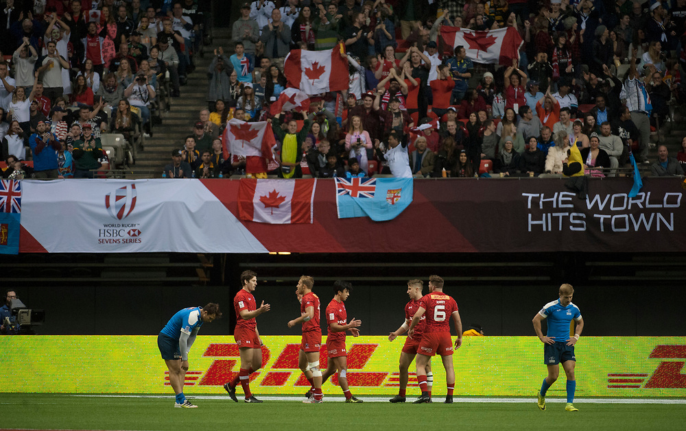 Canada celebrate after defeating Russia during the pool stages of the Canada Sevens,  Round Six of the World Rugby HSBC Sevens Series in Vancouver, British Columbia, Saturday March 11, 2017. <br /> <br /> Jack Megaw.<br /> <br /> www.jackmegaw.com<br /> <br /> jack@jackmegaw.com<br /> @jackmegawphoto<br /> [US] +1 610.764.3094<br /> [UK] +44 07481 764811