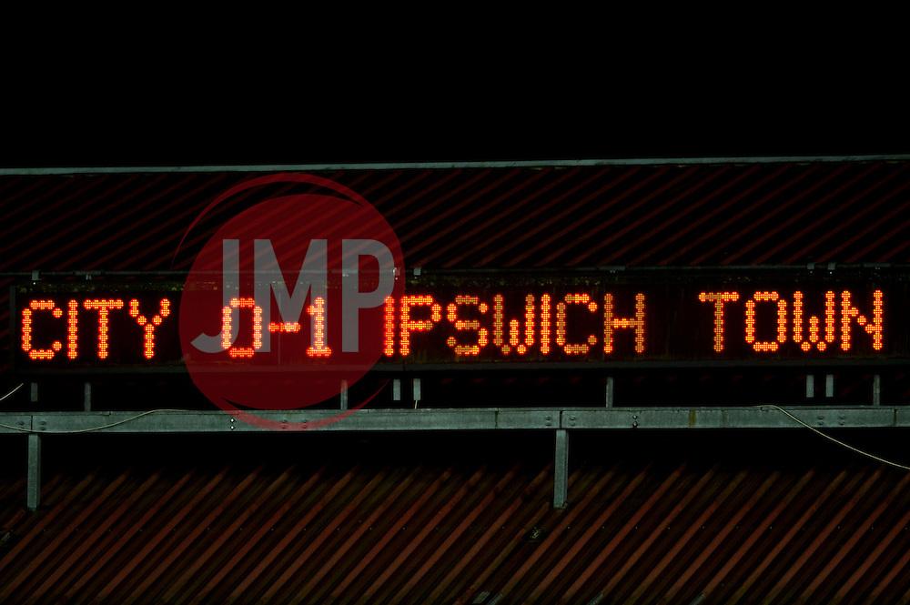 Final result, Bristol City U18s 0 - Ipswich Town U18s 1 - Photo mandatory by-line: Rogan Thomson/JMP - Tel: Mobile: 07966 386802 - 04/12/2012 - SPORT - FOOTBALL - Ashton Gate Stadium - Bristol. Bristol City U18 v Ipswich Town U18 - FA Youth Cup Third Round Proper.