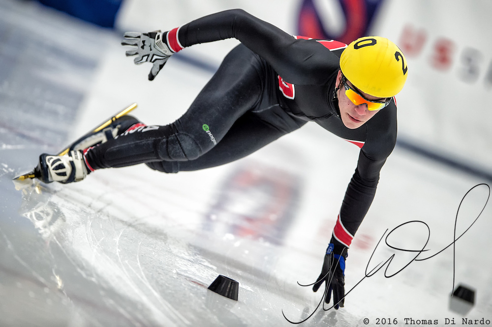 March 19, 2016 - Verona, WI - Lorenzo Arno, skater number 20 competes in US Speedskating Short Track Age Group Nationals and AmCup Final held at the Verona Ice Arena.
