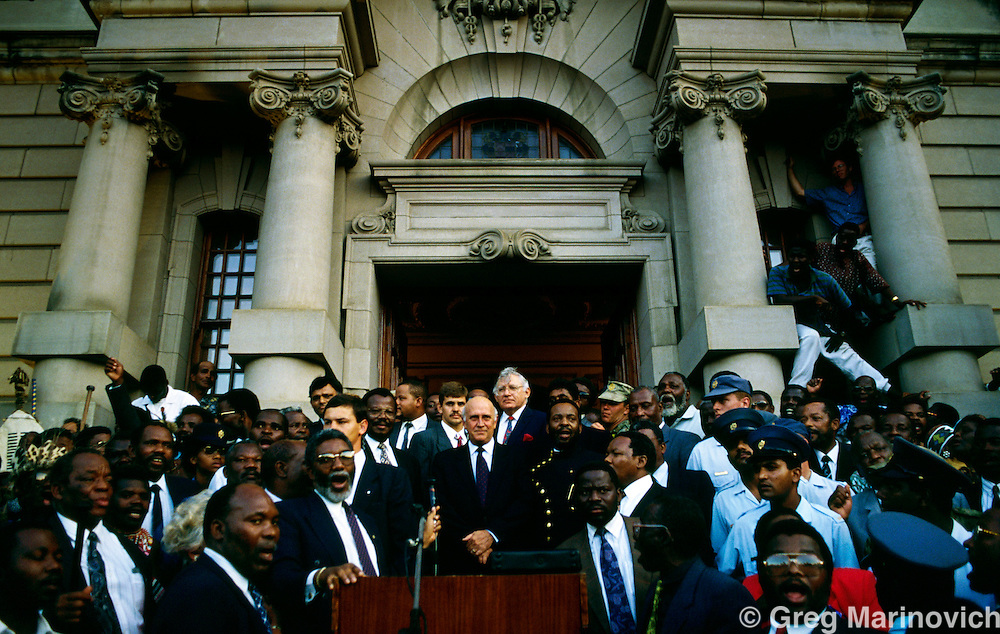 President FW de Klerk addresses a crowd outside Durban city hall a pre election rally 1994. South Africa