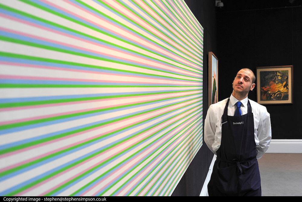 ©London News pictures...31.01.2011. Bridget Riley's Persephone 1 is expected to fetch between 600 and 800 thousand pounds. Highlights of upcoming Sotheby's sales of impressionist and modern art and contemporary art. Works on show include a Picasso portrait of his mistress and muse Marie-Therese, from 1932 which is estimated to fetch £12 to £18 million, a private commission by Marc Chagall - never before seen on the market - estimated to fetch in excess of £10m and a Hockney painting estimated at £1 to £1.5m. . Picture Credit should read Stephen Simpson/LNP