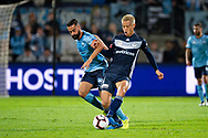SYDNEY, AUSTRALIA - MAY 12: Melbourne Victory midfielder Keisuke Honda (4) and Sydney FC forward Alex Brosque (14) fight for the ball at the Elimination Final of the Hyundai A-League Final Series soccer between Sydney FC and Melbourne Victory on May 12, 2019 at Netstrata Jubilee Stadium in Sydney, Australia. (Photo by Speed Media/Icon Sportswire)