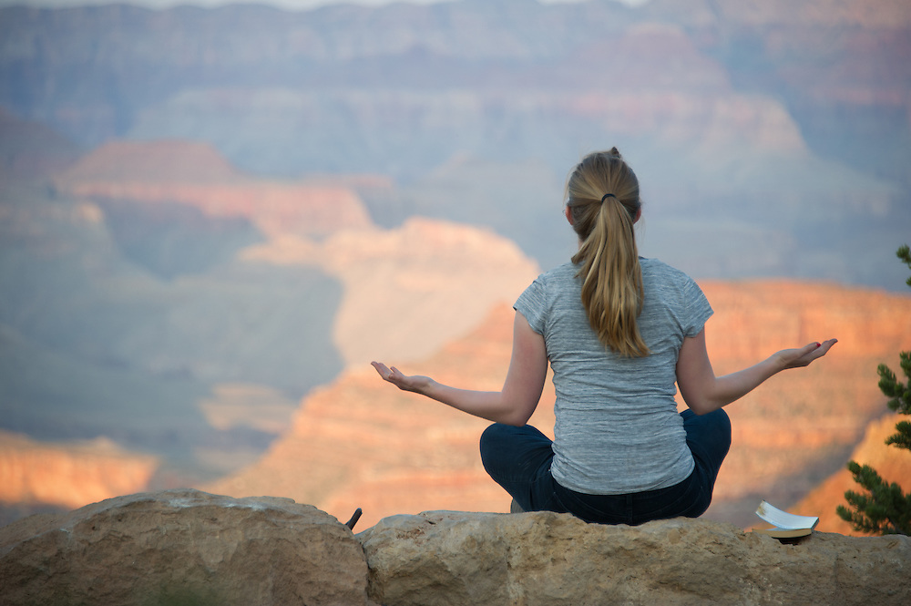 Woman Meditating at Grand Canyon