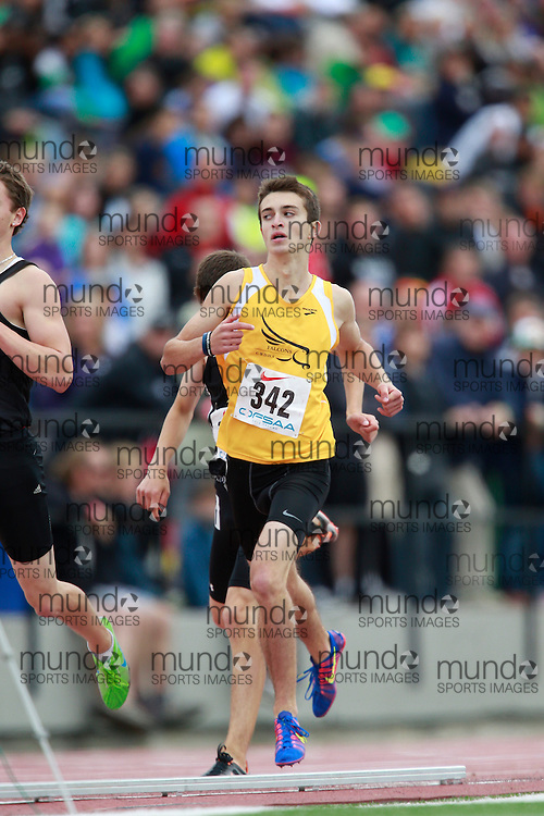 Mark Patton of Centre Wellington DHS - Fergus competes in the 800 metre heats at the 2013 OFSAA Track and Field Championship in Oshawa Ontario, Saturday,  June 8, 2013.<br /> Mundo Sport Images/ Geoff Robins
